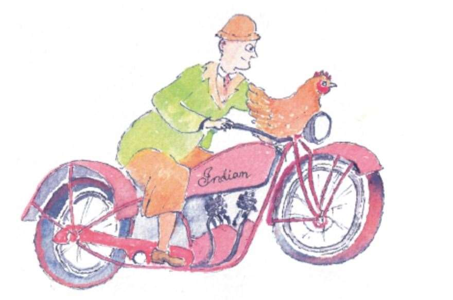 Willie McGillivray, a water bailiff who patrolled between Glenlivet and Tomintoul on his motorbike, was one of the local characters of the time.Note the hen on his handlebars.