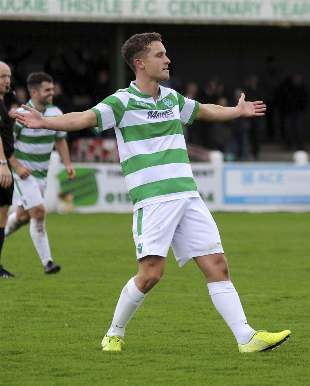Scott Adams celebrates his stunning free kick goal against Forres at the weekend.
