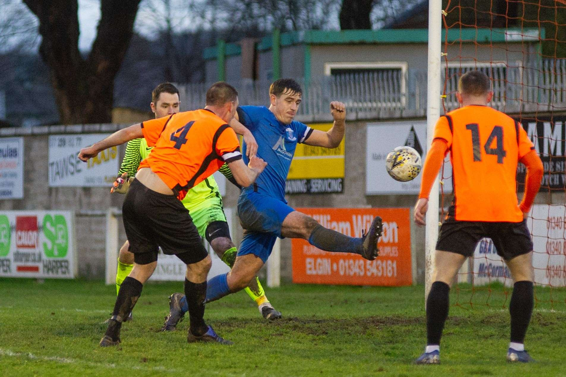 Bruce Milne levels for Rothes against Strathspey. Picture: Daniel Forsyth.