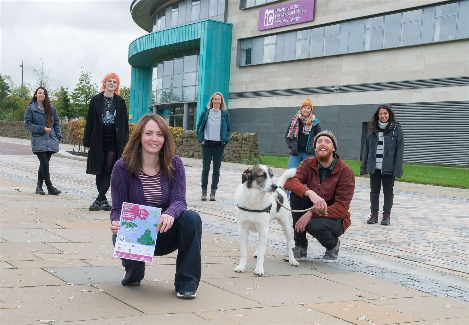 Left to right, Postgraduate research students' Celia Delugin, Lydia McGill, Alison Martin, Joanna Rodgers, Sunny Bradbury and Odin the dog, and Shraveena Venkatesh. Nursing student Roma Gibb pictured at the front.