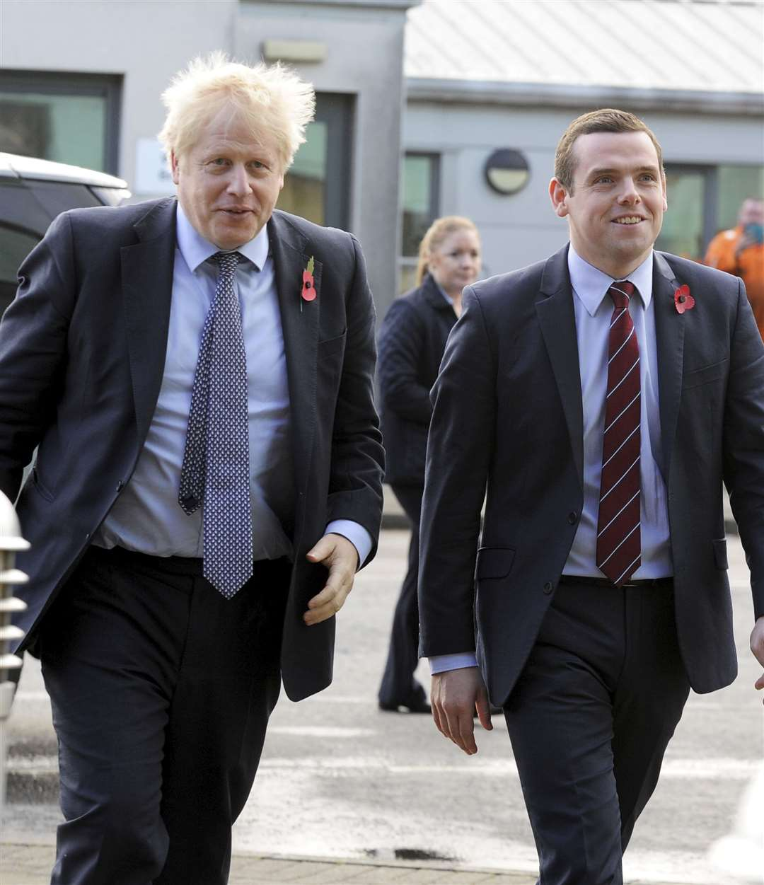Picture: Eric Cormack. Prime Minister Boris Johnson is greeted by Douglas Ross as he arrives at the Roseisle maltings.