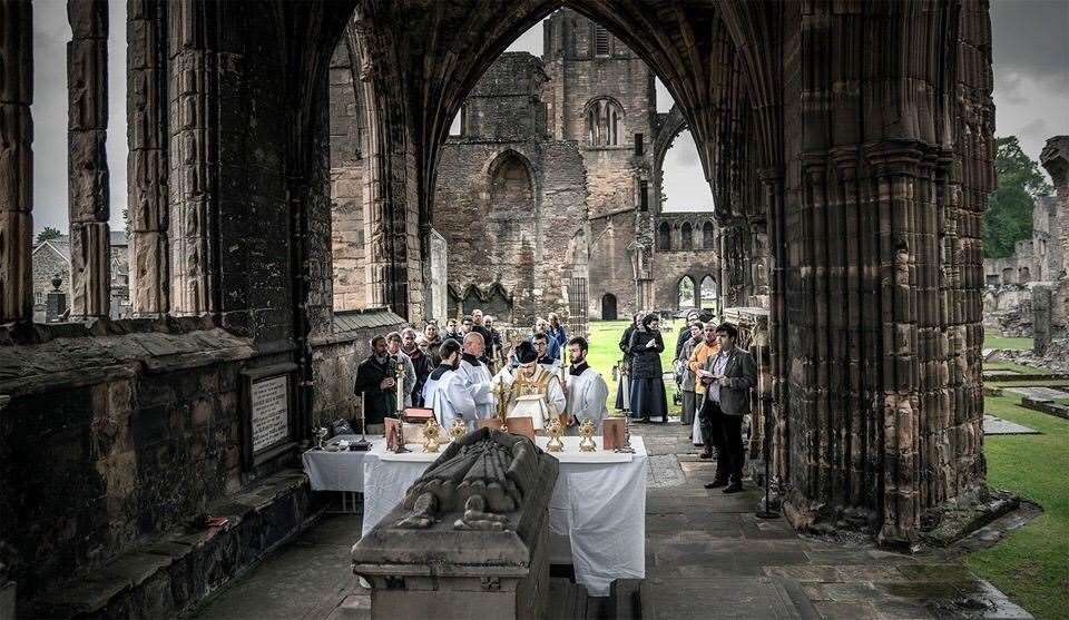 The ceremony at Elgin Cathedral.