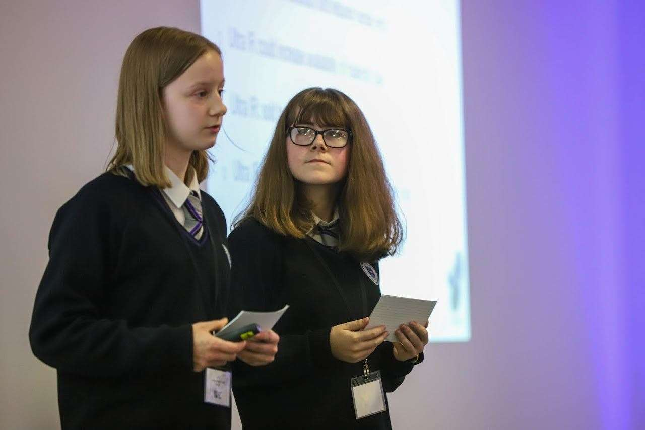 Speyside High pupils Isla Horsburgh and Phoebe Rees give their presentation.