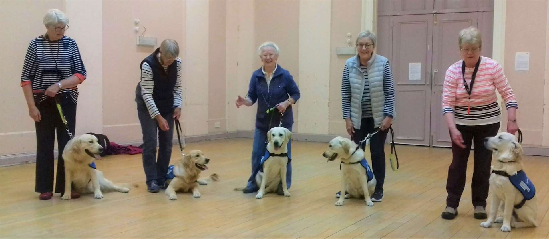 Gathering for a class photo are (from left) Morag Thomson from Craigellachie with Hoover and his litter brother Hudson with Ruth Cocker from Skye of Curr; Margaret Woodward from Rafford with Bramble and her litter sister Bubbles with Helen Simpson, also from Craigellachie. Anna Roberts, a boarder from Forres, is holding Gizmo, who is walked by Anne Simpson of Nairn. Gizmo is son of a puppy previously walked here by Morag and the nephew of two others. One of these, Charlie, became a stud dog and produced 99 pups which went into the training system.