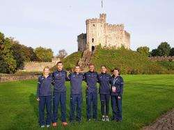 Kenny Wilson with his Scotland team-mates before the Commonwealth Championships in Cardiff