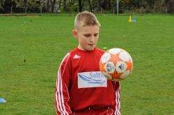 Elgin footballer Josh black (11) to carry out a keepy-up challenge with a twist.