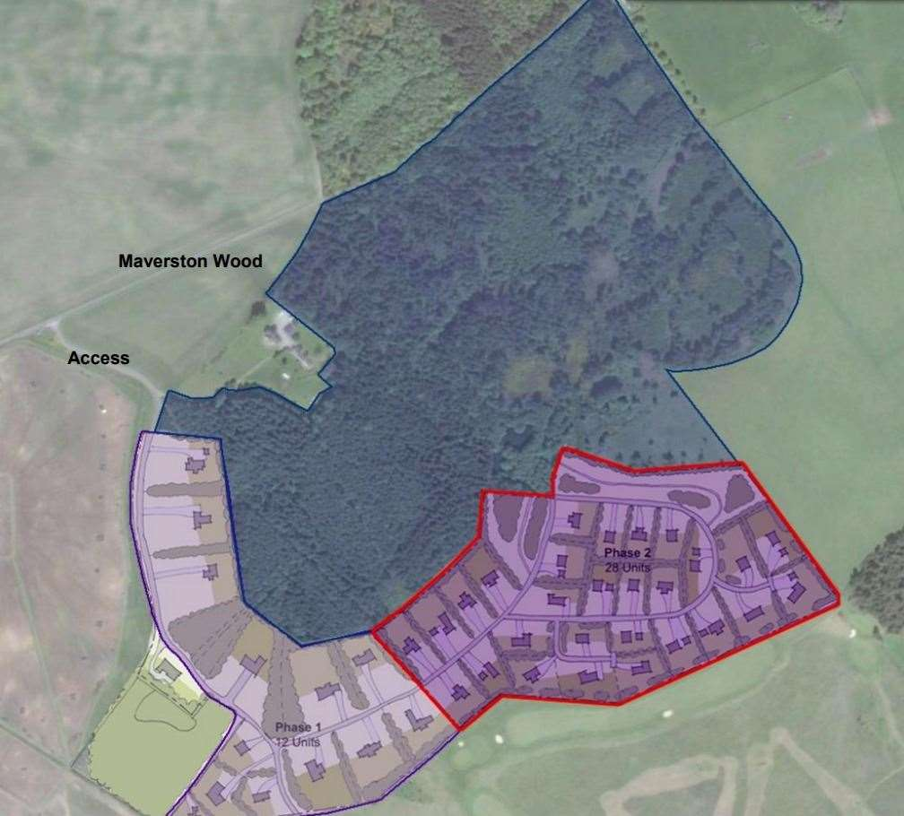 A plan showing the two phases of the Mavertson development.