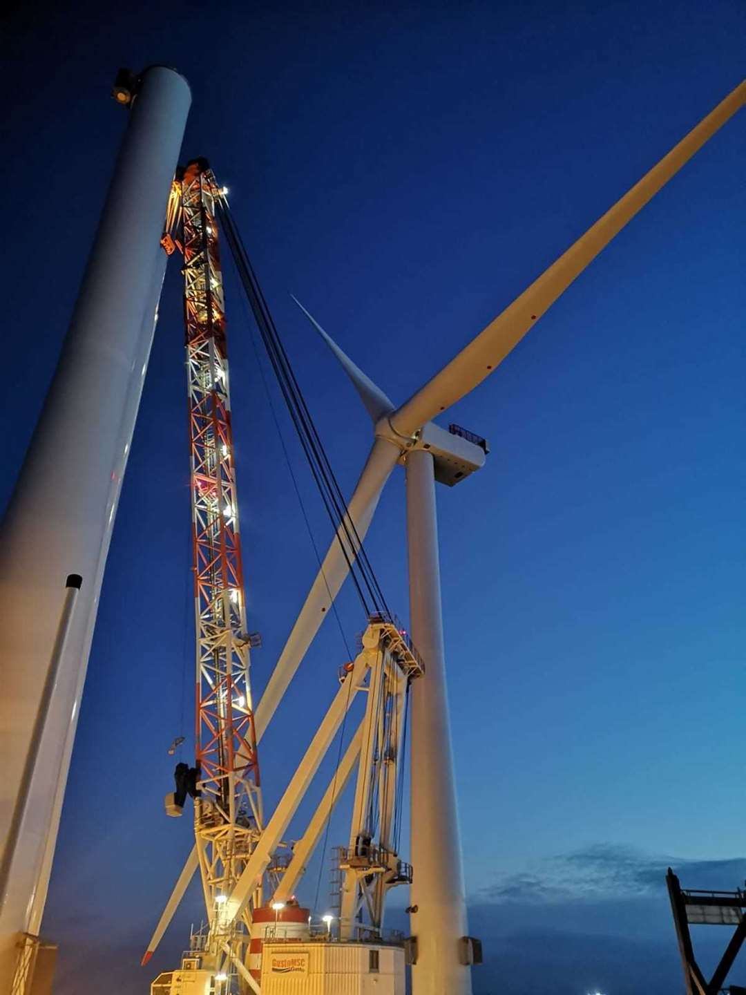 The first turbine is erected at Moray East offshore windfarm, 15 miles from the shore in the Moray Firth.