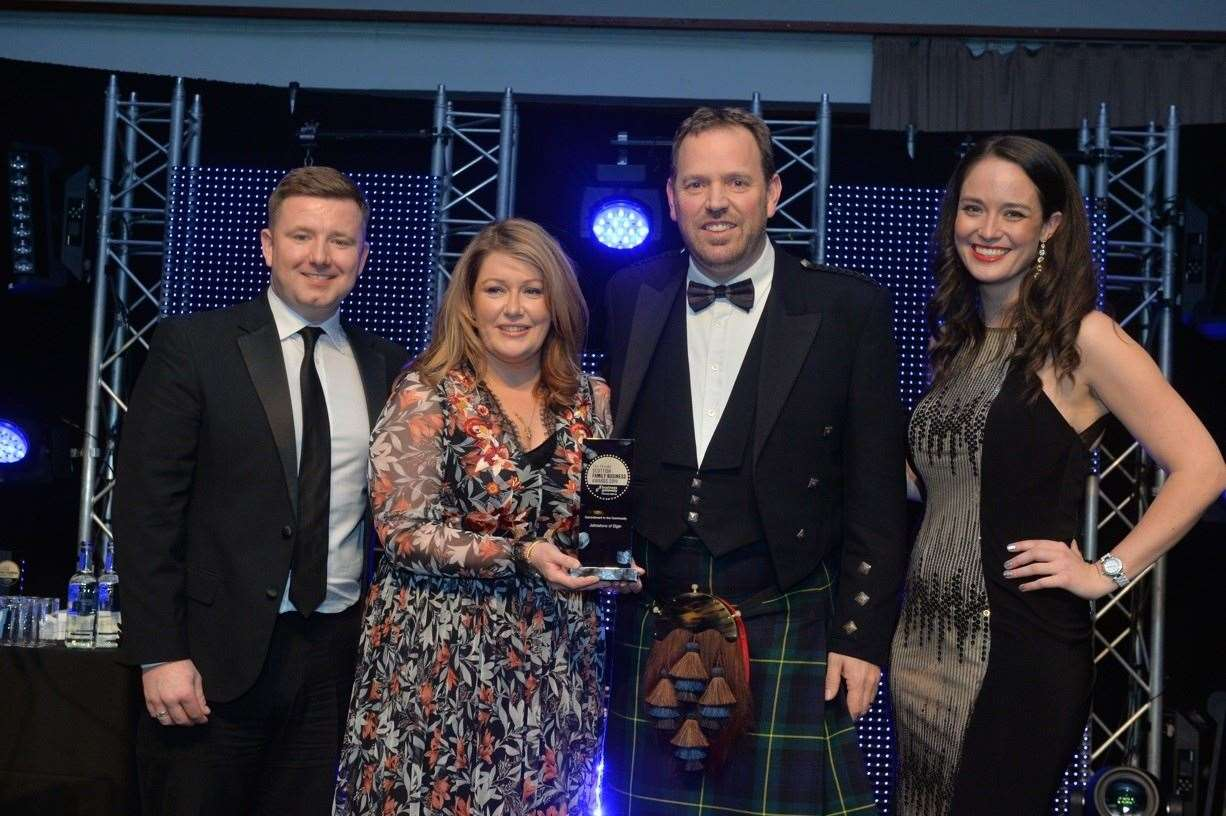 (From left) Stephen McDevitt, of LOCALiQ, Johnstons of Elgin chairman Jenny Urquhart and CEO Simon Cotton, with event host Jennifer Reoch.