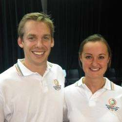 Swim star David Carry and badminton ace Susan Egelstaff visited New Elgin primary in their role as Commonwealth Games ambassadors.