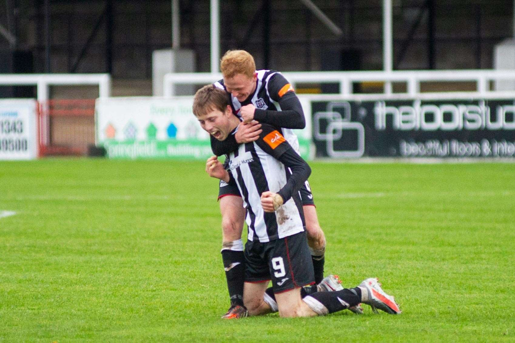 Kane Hester celebrates Saturday's goal with fellow scorer Russell Dingwall. Picture: Daniel Forsyth..