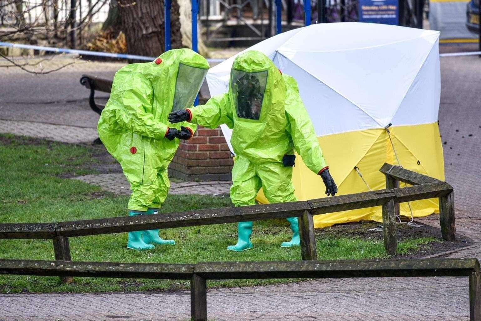 Decontamination teams at work in the town of Salisbury.