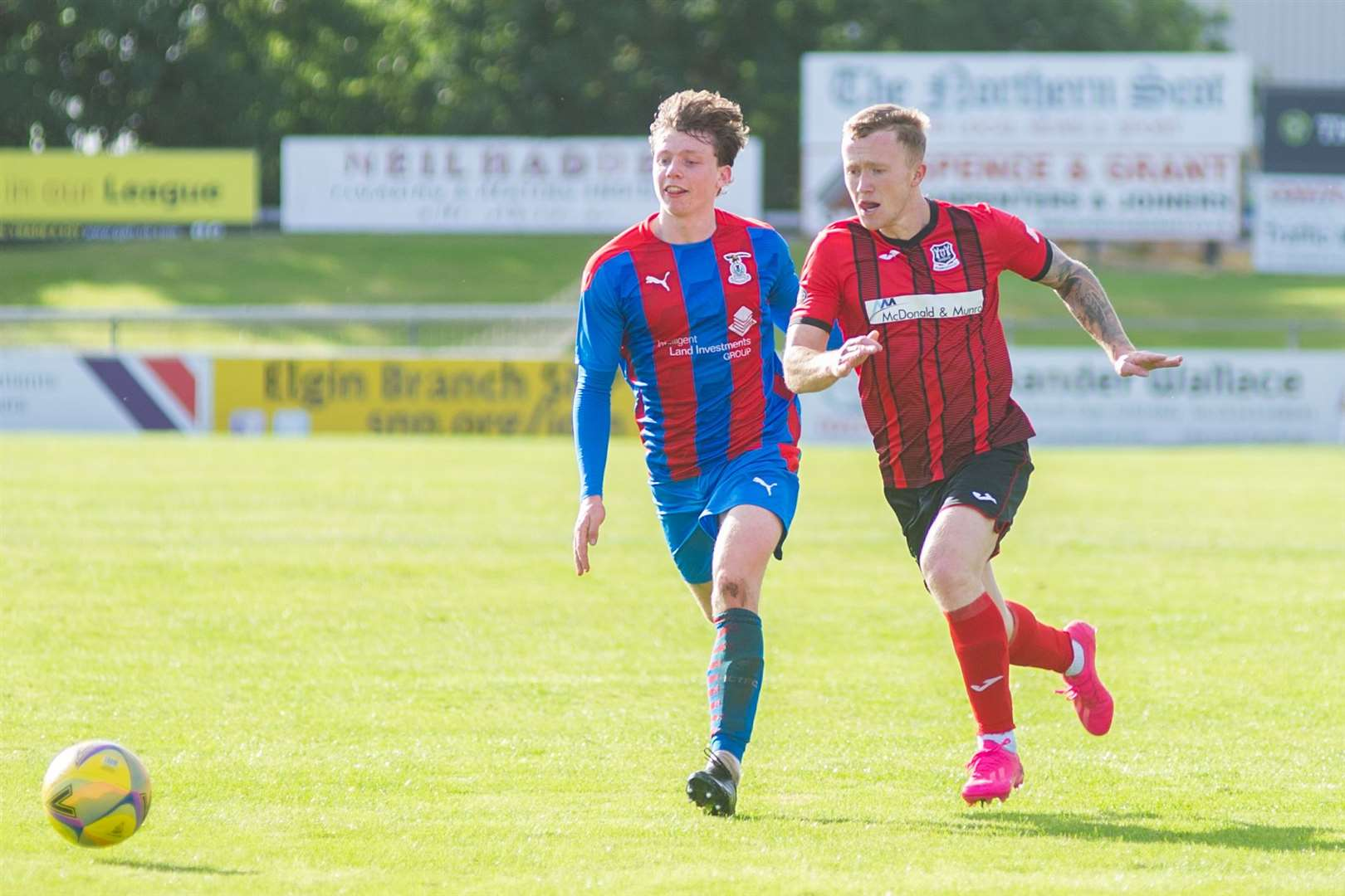 Harry Bicolson (left) in action for Caley Jags against Elgin City's Conor O'Keefe in a friendly in 2020. Photo: Daniel Forsyth ..