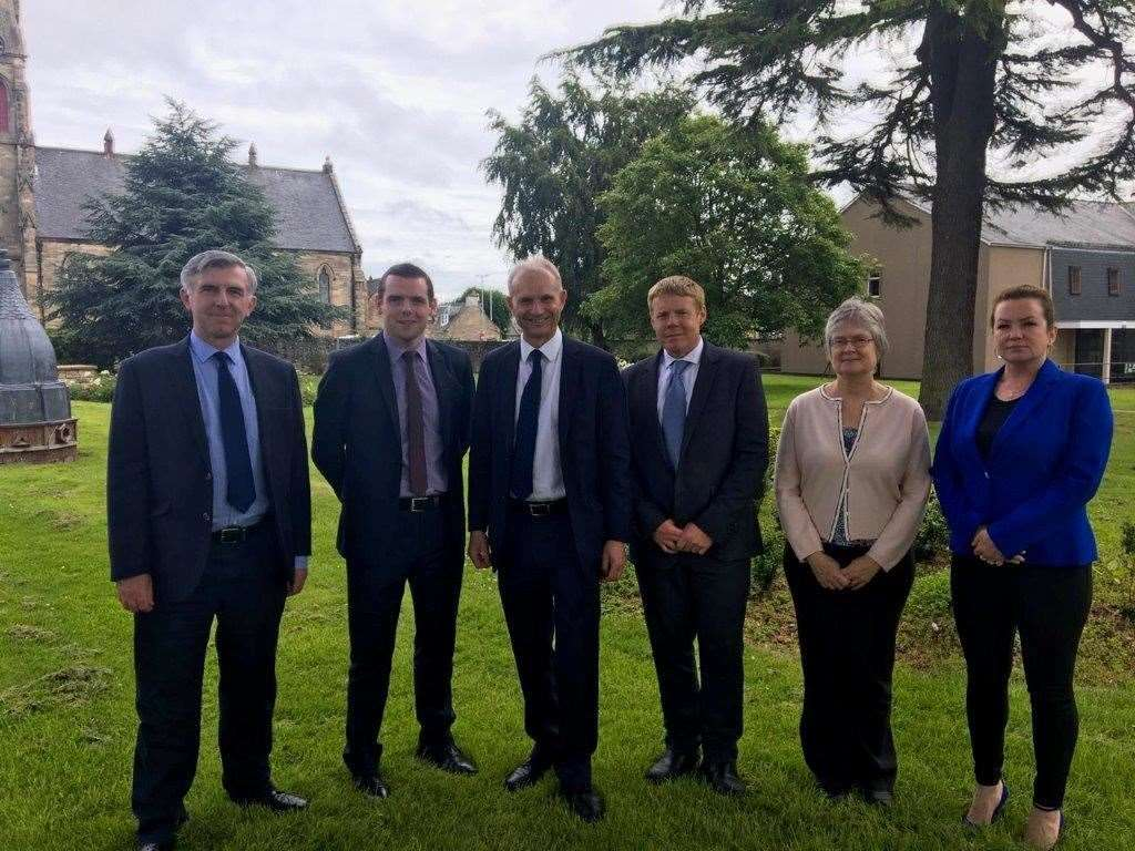 David Lidington, the deputy Prime Minister, with Moray Conservative councillors yesterday