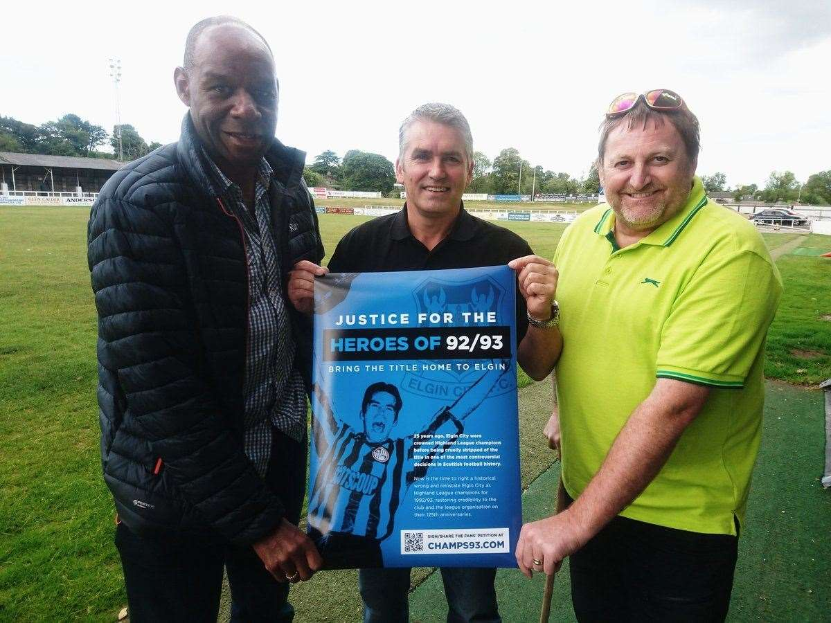 Alex's petition has been backed by Sammy Leonce, Russell Mackay and Mike Teasdale, stars of Elgin's 1992-93 team who had their league medals taken away.