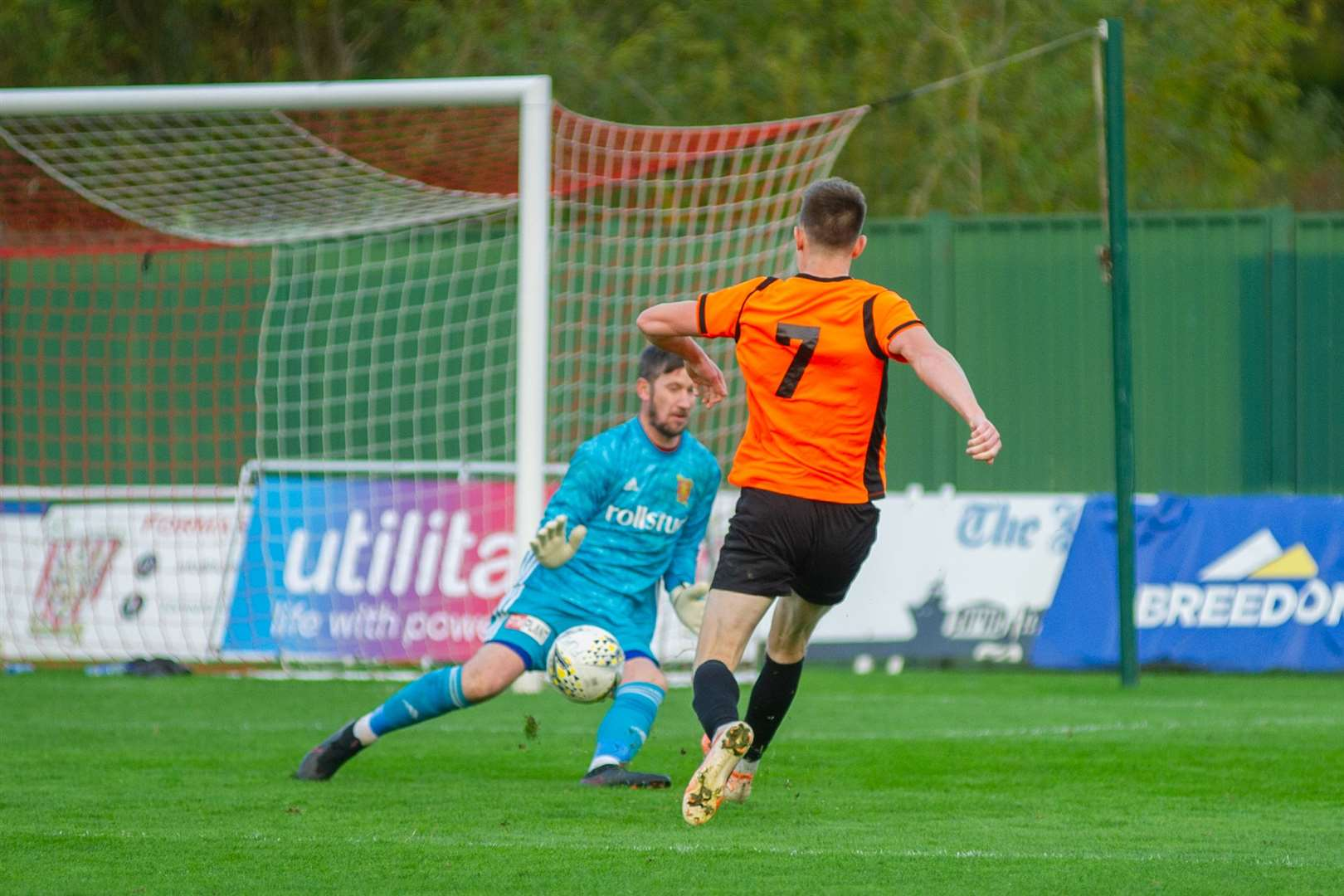 Craig Cormack scores the Rothes winner past Formartine keeper Kevin Main...Picture: Daniel Forsyth..