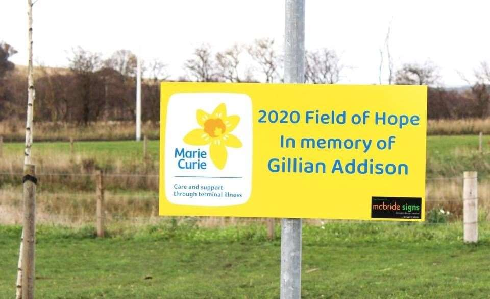 The 2020 Field of Hope is a tribute to Gillian Addison, who worked front of house at Moray Sports Centre.